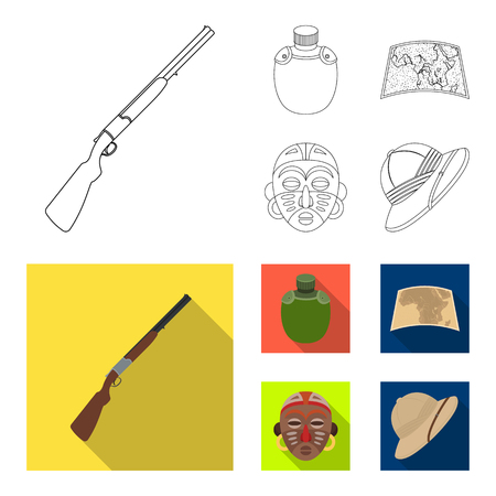 Hunting rifle, flask in the case, map, African mask. African safari set collection icons in outline,flat style vector symbol stock illustration web. 向量圖像