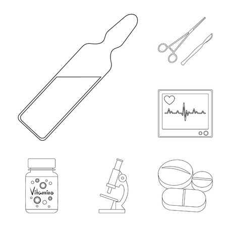 Medicine and treatment outline icons in set collection for design. Medicine and equipment vector symbol stock web illustration. Stock Photo