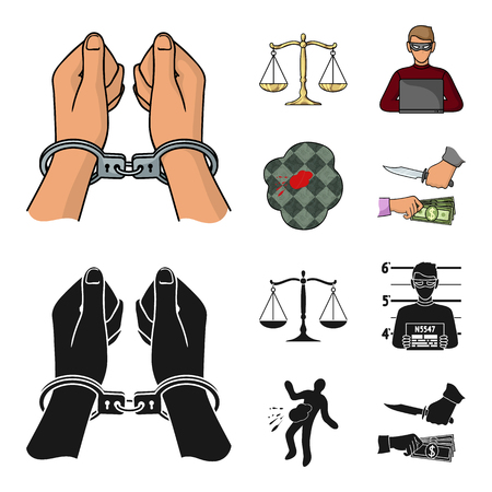 Handcuffs, scales of justice, hacker, crime scene.Crime set collection icons in cartoon,black style vector symbol stock illustration web.