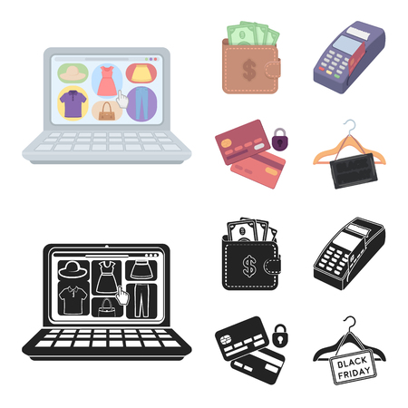 Purse, money, touch, hanger and other equipment. E commerce set collection icons in cartoon,black style vector symbol stock illustration web.