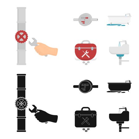 Water meter, bath and other equipment.Plumbing set collection icons in cartoon,black style vector symbol stock illustration . Stock Photo