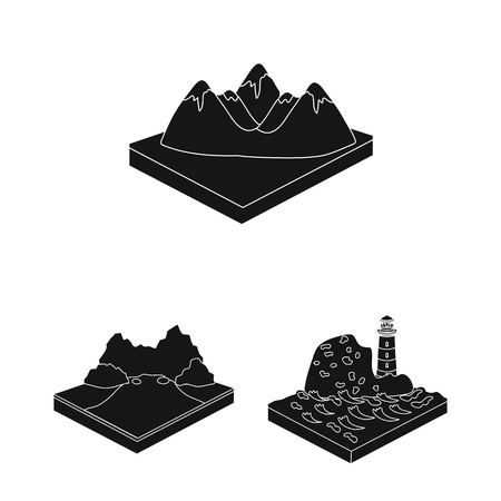 Mountains, massive black icons in set collection for design. The surface of the earth vector isometric symbol stock web illustration. Foto de archivo - 105381287