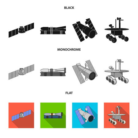 The space station in orbit, the preparation of the launch rocket, the lunar rover on the surface. Space technology set collection icons in black, flat, monochrome style vector symbol stock illustration web.