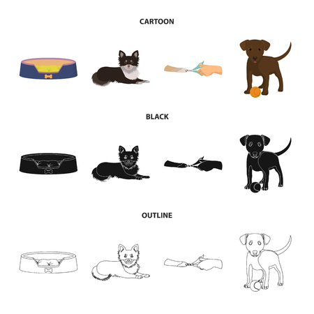 Lounger for a pet, clipping of claws in a vet clinic, lying dog, puppy with a ball. Vet clinic and pet,dog care set collection icons in cartoon,black,outline style vector symbol stock illustration .