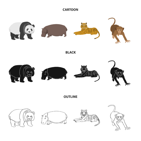 Bamboo bear, hippopotamus, wild animal tiger, monkey . Wild animal set collection icons in cartoon,black,outline style vector symbol stock illustration web.