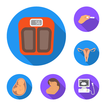 Woman and pregnancy flat icons in set collection for design. Gynecology and equipment vector symbol stock web illustration. Stock Photo