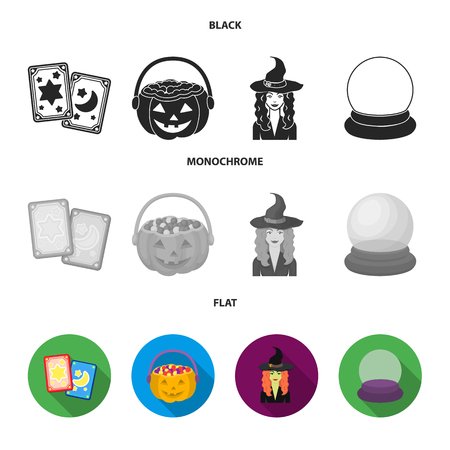 Tarot cards, holiday halloween, magician in a hat, crystal ball. Black and white magic set collection icons in black, flat, monochrome style vector symbol stock illustration web.