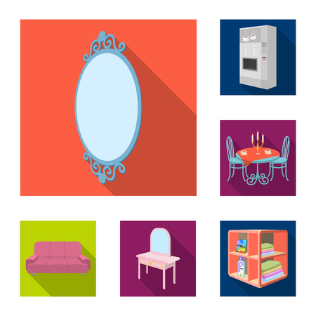 Furniture and interior flat icons in set collection for design. Home furnishings vector isometric symbol stock web illustration.