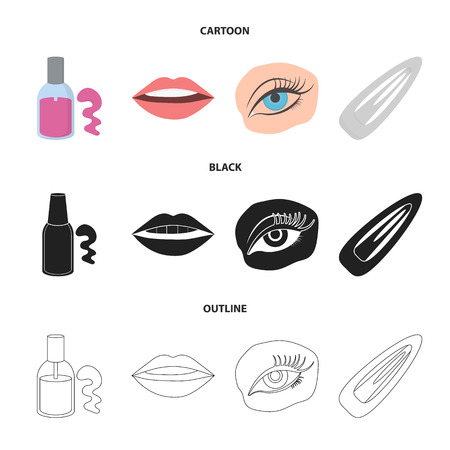 Nail polish, tinted eyelashes, lips with lipstick, hair clip.Makeup set collection icons in cartoon,black,outline style vector symbol stock illustration . Illustration