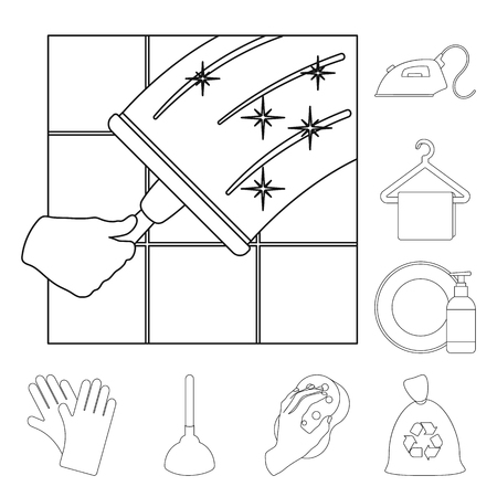 Cleaning and maid outline icons in set collection for design. Equipment for cleaning vector symbol stock web illustration.