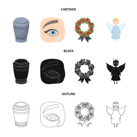 The urn with the ashes of the deceased, the tears of sorrow for the deceased at the funeral, the mourning wreath, the angel of death. Funeral ceremony set collection icons in cartoon,black,outline style vector symbol stock illustration web. Illustration