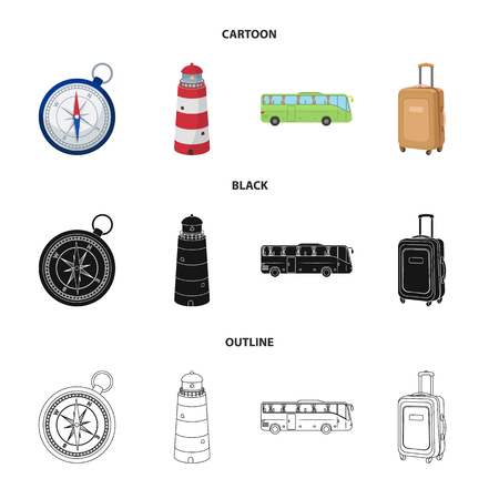 Vacation, travel, lighthouse, compass .Rest and travel set collection icons in cartoon,black,outline style vector symbol stock illustration web.