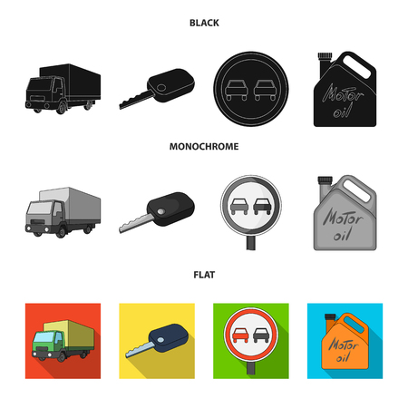 Truck with awning, ignition key, prohibitory sign, engine oil in canister, Vehicle set collection icons in black, flat, monochrome style vector symbol stock illustration web.