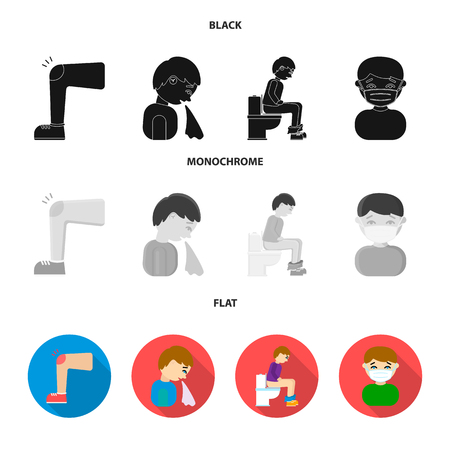 A foot with a bruise in the knee, sneezing sick, a man sitting on the toilet, a man in a medical mask. Sick set collection icons in black, flat, monochrome style vector symbol stock illustration web.