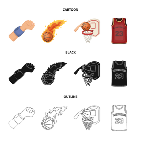 Basketball and attributes cartoon,black,outline icons in set collection for design.Basketball player and equipment vector symbol stock web illustration.