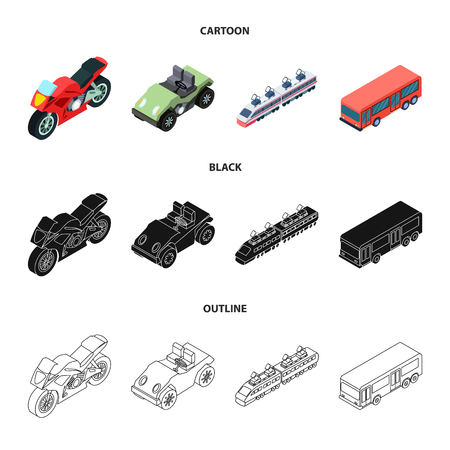 Motorrad, Golfwagen, Zug, Bus. Transportset-Sammlungsikonen in Karikatur, Schwarz, Umrissartvektorsymbolvorratillustrationsweb.