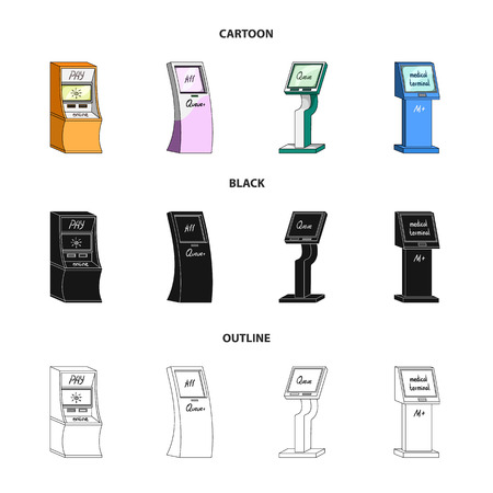 Medical terminal, ATM for payment,apparatus for queue. Terminals set collection icons in cartoon,black,outline style isometric vector symbol stock illustration web .