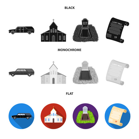 Black cadillac to transport the grave of the deceased, a church for a funeral ceremony, a grave with a tombstone, a death certificate. Funeral ceremony set collection icons in black, flat, monochrome style vector symbol stock illustration web.