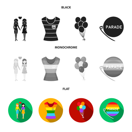 Lesbians, dress, balls, gay parade. Gay set collection icons in black, flat, monochrome style vector symbol stock illustration .