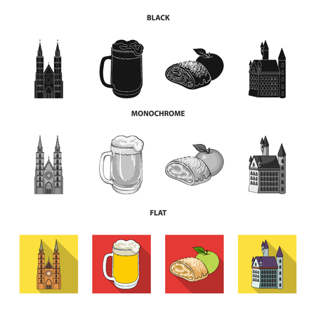 Country Germany black, flat, monochrome icons in set collection for design. Germany and landmark vector symbol stock  illustration.