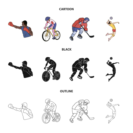 Cycling, boxing, ice hockey, volleyball. sport set collection icons in cartoon,black,outline style vector symbol stock illustration .