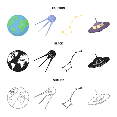 Planet Earth with continents and oceans, flying satellite, Ursa Major, UFO. Space set collection icons in cartoon,black,outline style vector symbol stock illustration .