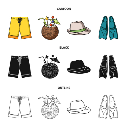 Swimming trunks, cocktail with coconut, panama and flippers. Surfing set collection icons in cartoon,black,outline style vector symbol stock illustration . Illustration