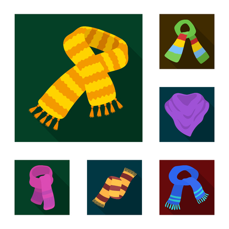 Scarf and Shawl flat icons in set collection for design.Clothes and Accessory vector symbol stock web illustration. Иллюстрация