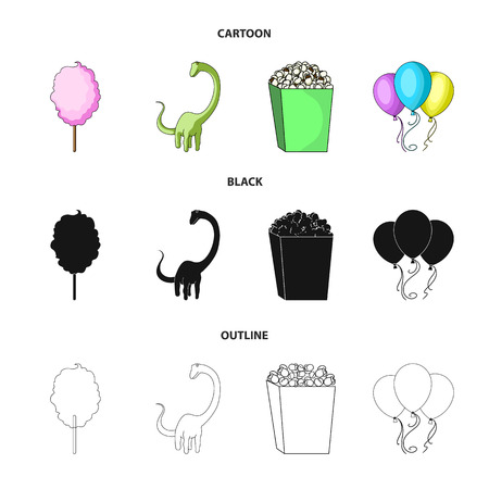 Sweet cotton wool on a stick, a toy dragon, popcorn in a box, colorful balloons on a string. Amusement park set collection icons in cartoon,black,outline style vector symbol stock illustration web.  イラスト・ベクター素材