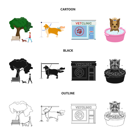 Walking with a dog in the park, combing a dog, a veterinarian office, bathing a pet. Vet clinic and pet care set collection icons in cartoon,black,outline style vector symbol stock illustration web.