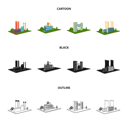 Processing factory,metallurgical plant. Factory and industry set collection icons in cartoon,black,outline style isometric vector symbol stock illustration web. Stock Illustratie