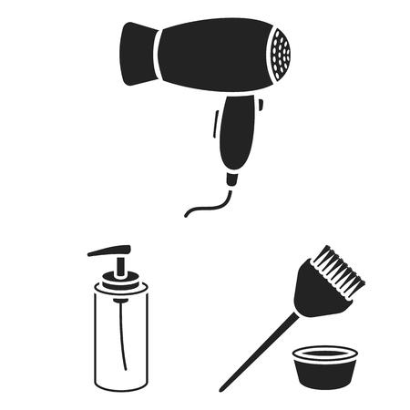 Hairdresser and tools black icons in set collection for design.Profession hairdresser vector symbol stock web illustration. 向量圖像