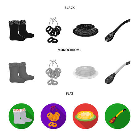 Felt, boots, drying, gingerbread .Russia country set collection icons in black, flat, monochrome style vector symbol stock illustration web. Ilustração