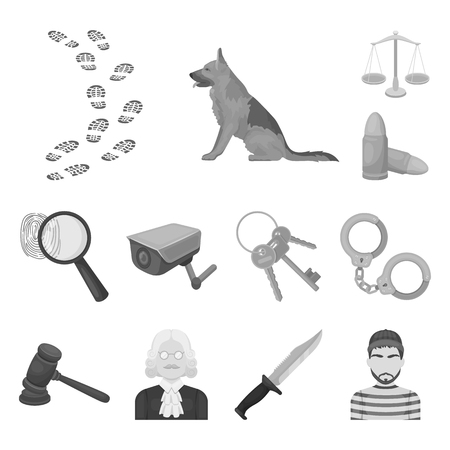 Prison and the criminalmonochrome icons in set collection for design.Prison and Attributes vector symbol stock web illustration.