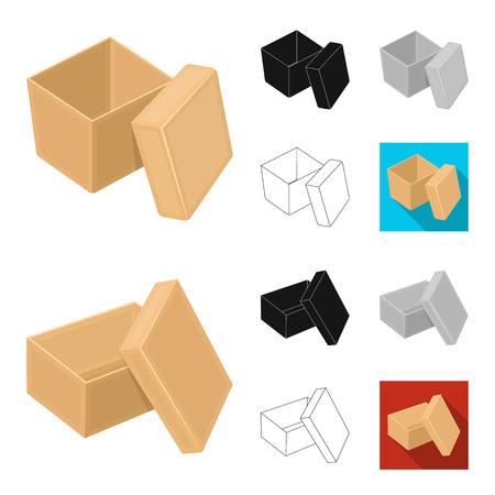 Different boxes cartoon,black,flat,monochrome,outline icons in set collection for design.Packing box vector symbol stock  illustration. Ilustração