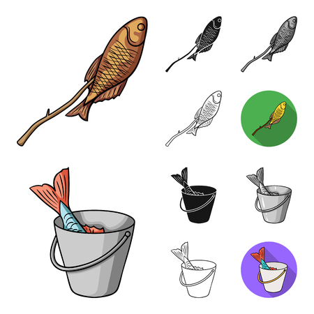Fishing and rest cartoon,black,flat,monochrome,outline icons in set collection for design. Tackle for fishing vector symbol stock  illustration. Vettoriali