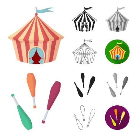 Circus and attributes cartoon,black,flat,monochrome,outline icons in set collection for design. Circus Art vector symbol stock  illustration.