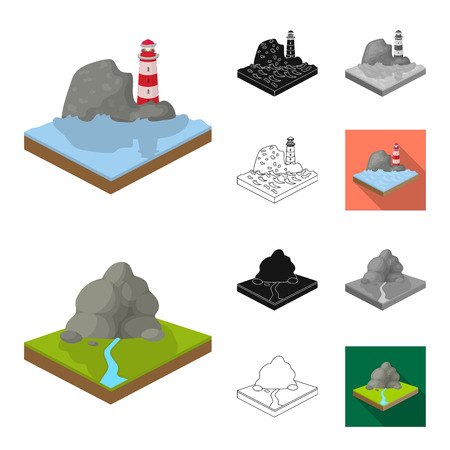 Mountains, massive cartoon,black,flat,monochrome,outline icons in set collection for design. The surface of the earth vector isometric symbol stock  illustration. Foto de archivo - 105442509