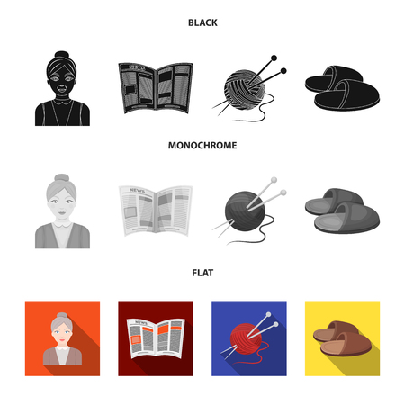 An elderly woman, slippers, a newspaper, knitting.Old age set collection icons in black, flat, monochrome style vector symbol stock illustration .