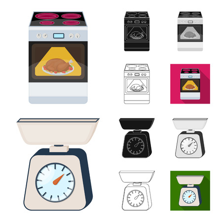 Kitchen equipment cartoon,black,flat,monochrome,outline icons in set collection for design. Kitchen and accessories vector symbol stock  illustration.