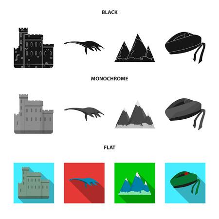 Edinburgh Castle, Loch Ness Monster, Grampian Mountains, national cap balmoral, tam o shanter.Scotland set collection icons in black, flat, monochrome style vector symbol stock illustration .