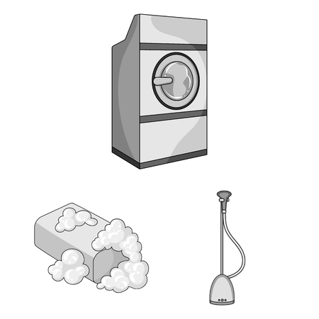 Dry cleaning equipment monochrome icons in set collection for design. Washing and ironing clothes vector symbol stock web illustration.