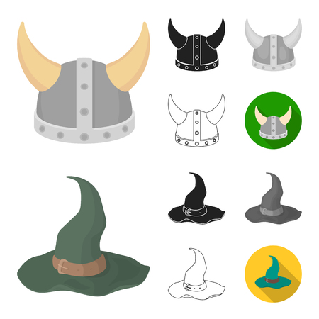 Different kinds of hats cartoon,black,flat,monochrome,outline icons in set collection for design.Headdress vector symbol stock  illustration.