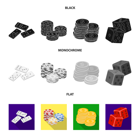 Domino bones, stack of chips, a pile of mont, playing blocks. Casino and gambling set collection icons in black, flat, monochrome style vector symbol stock illustration .