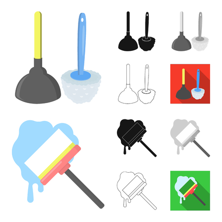 Cleaning and maid cartoon,black,flat,monochrome,outline icons in set collection for design. Equipment for cleaning vector symbol stock web illustration.