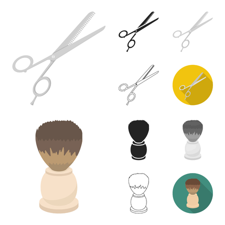 Hairdresser and tools cartoon,black,flat,monochrome,outline icons in set collection for design.Profession hairdresser vector symbol stock illustration.