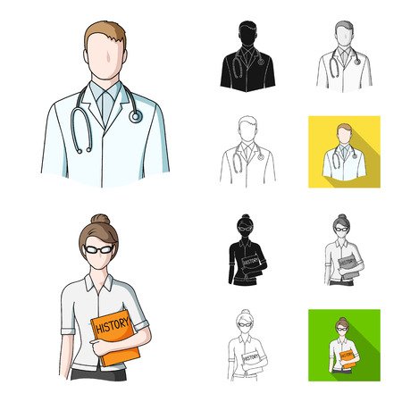People of different professions cartoon,black,flat,monochrome,outline icons in set collection for design. Worker and specialist vector symbol stock  illustration.