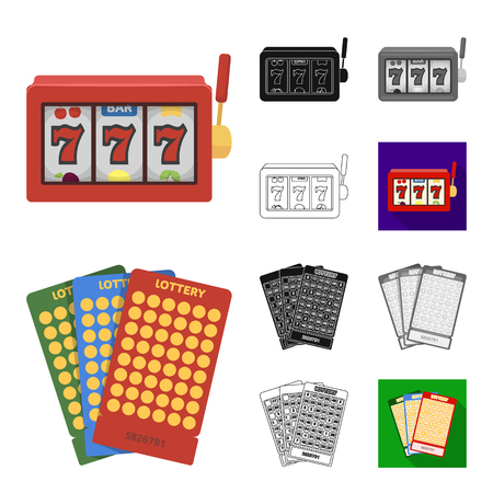 Casino and gambling cartoon,black,flat,monochrome,outline icons in set collection for design. Casino and equipment vector symbol stock  illustration. Vectores