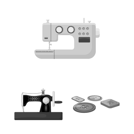 Atelier and equipment monochrome icons in set collection for design. Sewing of outer clothing vector symbol stock  illustration.