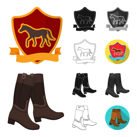 Hippodrome and horse cartoon,black,flat,monochrome,outline icons in set collection for design. Horse Racing and Equipment vector symbol stock  illustration.